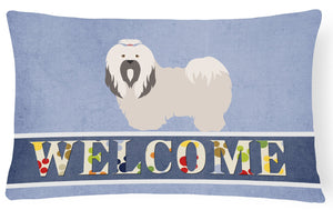 Buy this Lhasa Apso Welcome Canvas Fabric Decorative Pillow BB8319PW1216