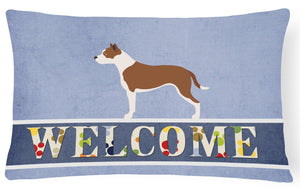 Buy this Pit Bull Terrier Welcome Canvas Fabric Decorative Pillow BB8325PW1216