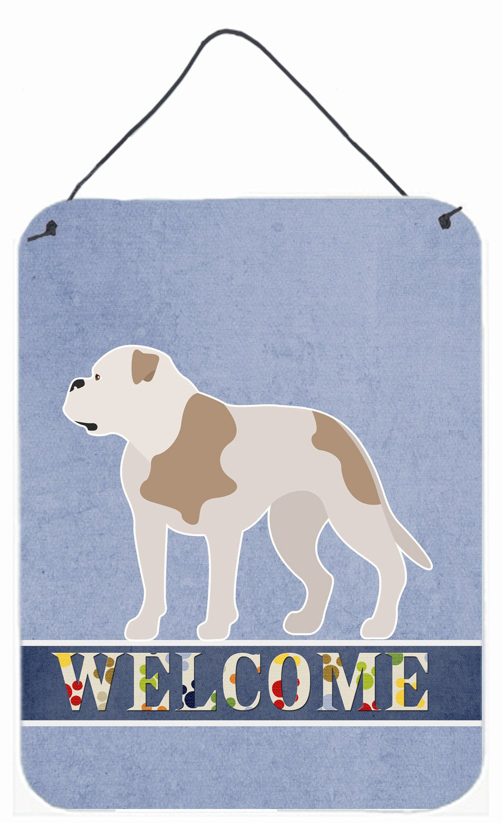 American Bulldog Welcome Wall or Door Hanging Prints BB8348DS1216 by Caroline's Treasures