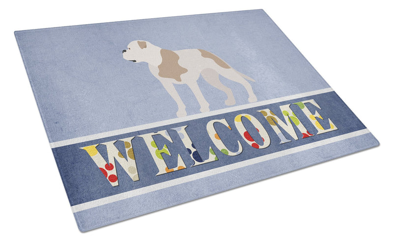 American Bulldog Welcome Glass Cutting Board Large BB8348LCB by Caroline's Treasures