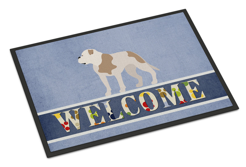 American Bulldog Welcome Indoor or Outdoor Mat 18x27 BB8348MAT by Caroline's Treasures