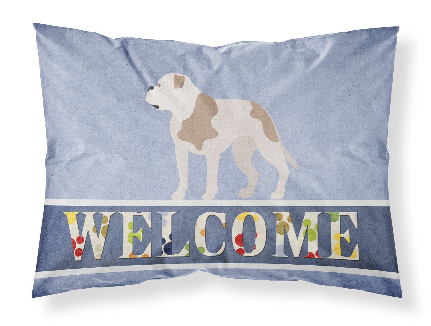 American Bulldog Welcome Fabric Standard Pillowcase BB8348PILLOWCASE by Caroline's Treasures