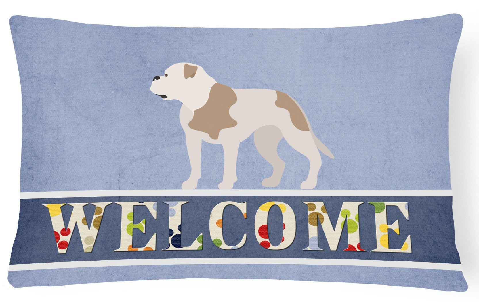 American Bulldog Welcome Canvas Fabric Decorative Pillow BB8348PW1216 by Caroline's Treasures