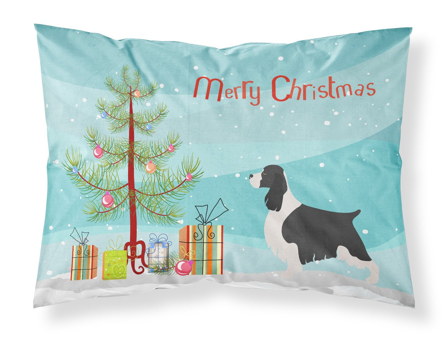 English Springer Spaniel Christmas Fabric Standard Pillowcase BB8435PILLOWCASE by Caroline's Treasures