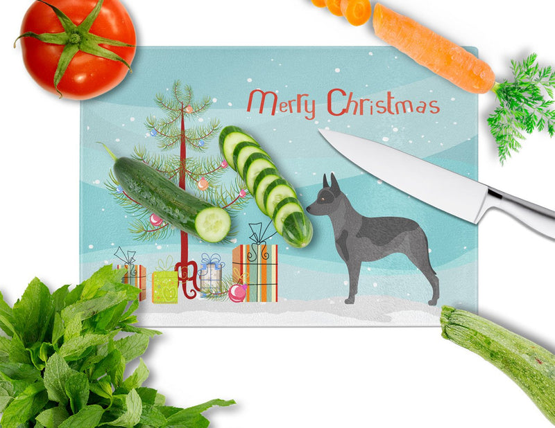 Buy this Australian Cattle Dog Christmas Glass Cutting Board Large BB8451LCB