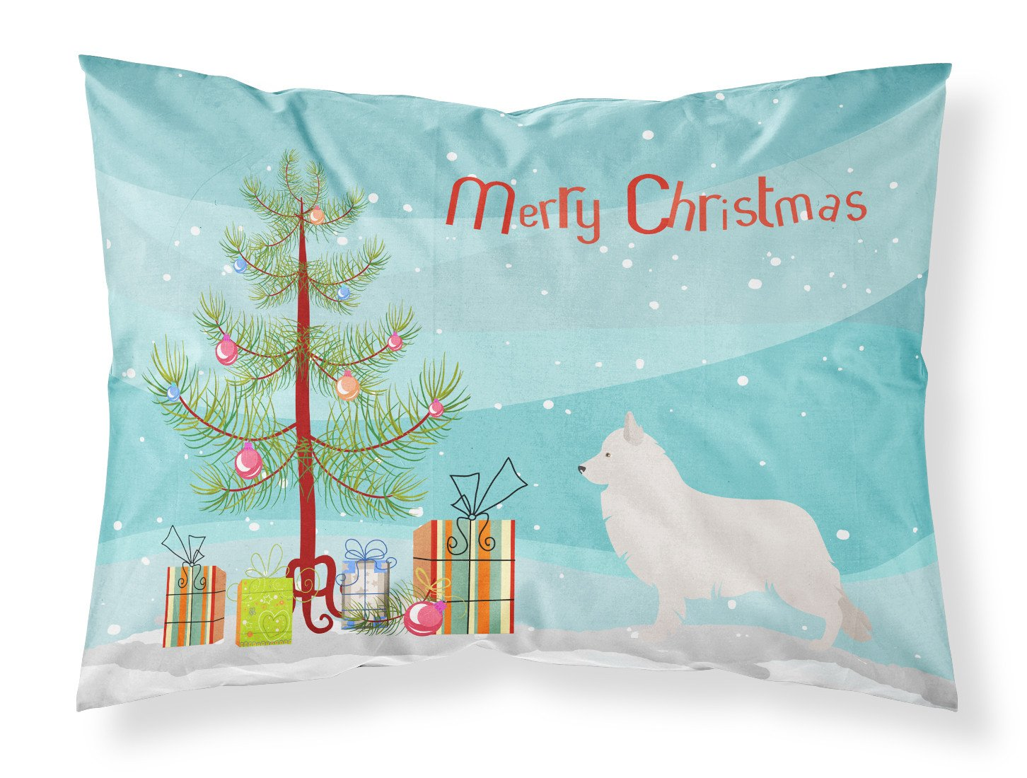 Berger Blanc Suisse Christmas Fabric Standard Pillowcase BB8454PILLOWCASE by Caroline's Treasures
