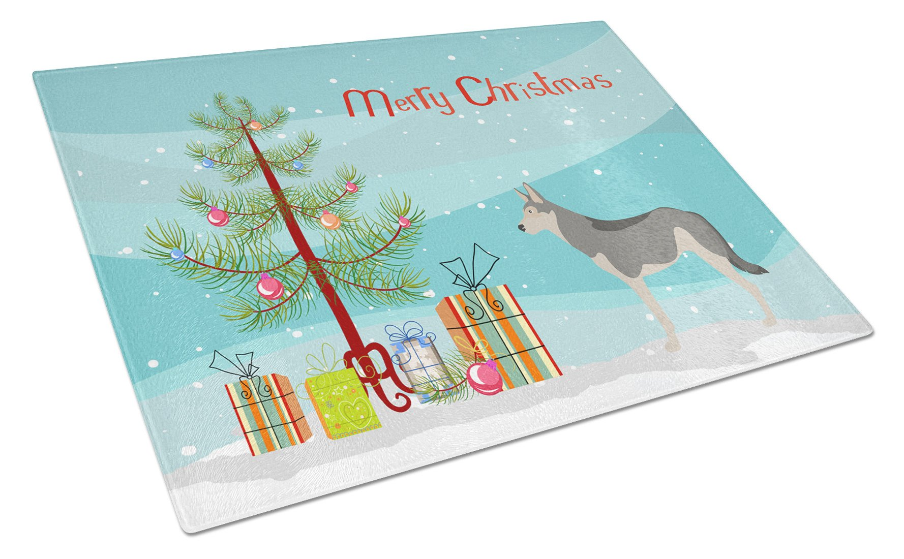 Buy this Saarloos Wolfdog Christmas Glass Cutting Board Large BB8458LCB