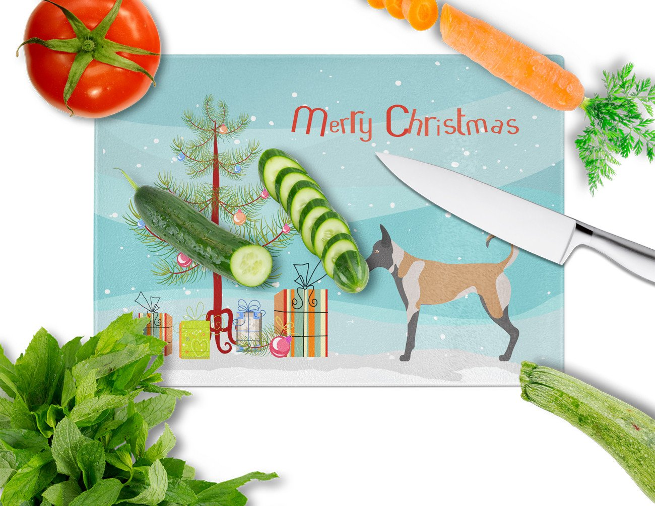 Malinois Christmas Glass Cutting Board Large BB8461LCB by Caroline's Treasures
