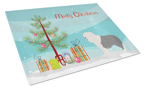 Buy this Old English Sheepdog Christmas Glass Cutting Board Large BB8466LCB