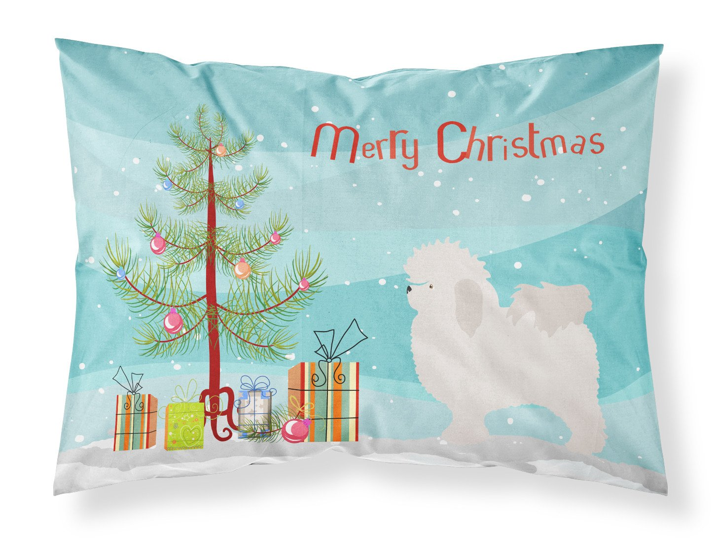Bolognese Christmas Fabric Standard Pillowcase BB8471PILLOWCASE by Caroline's Treasures