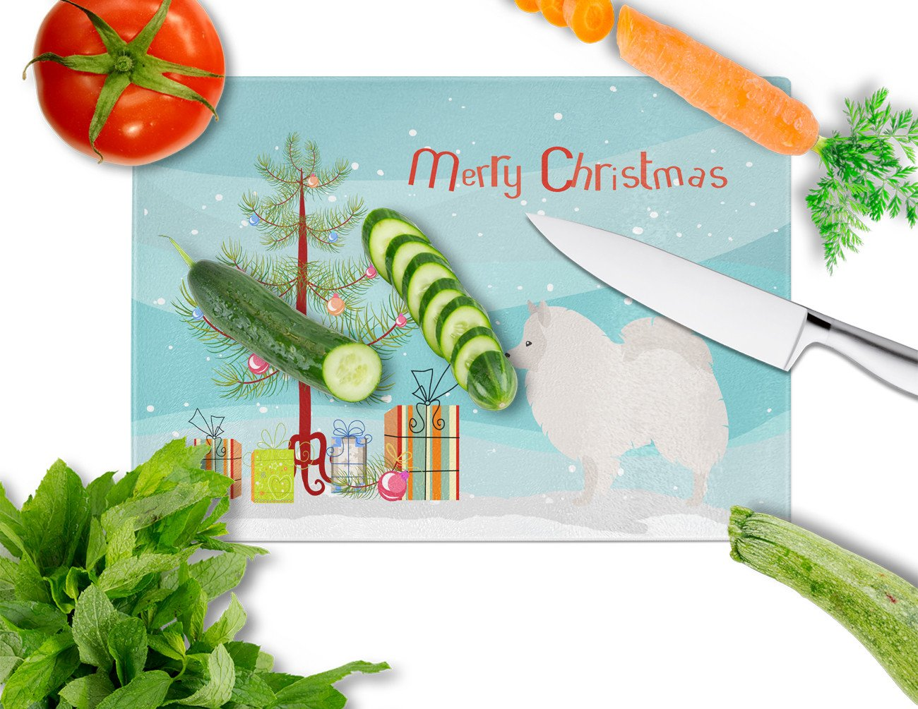 Buy this German Spitz Christmas Glass Cutting Board Large BB8479LCB