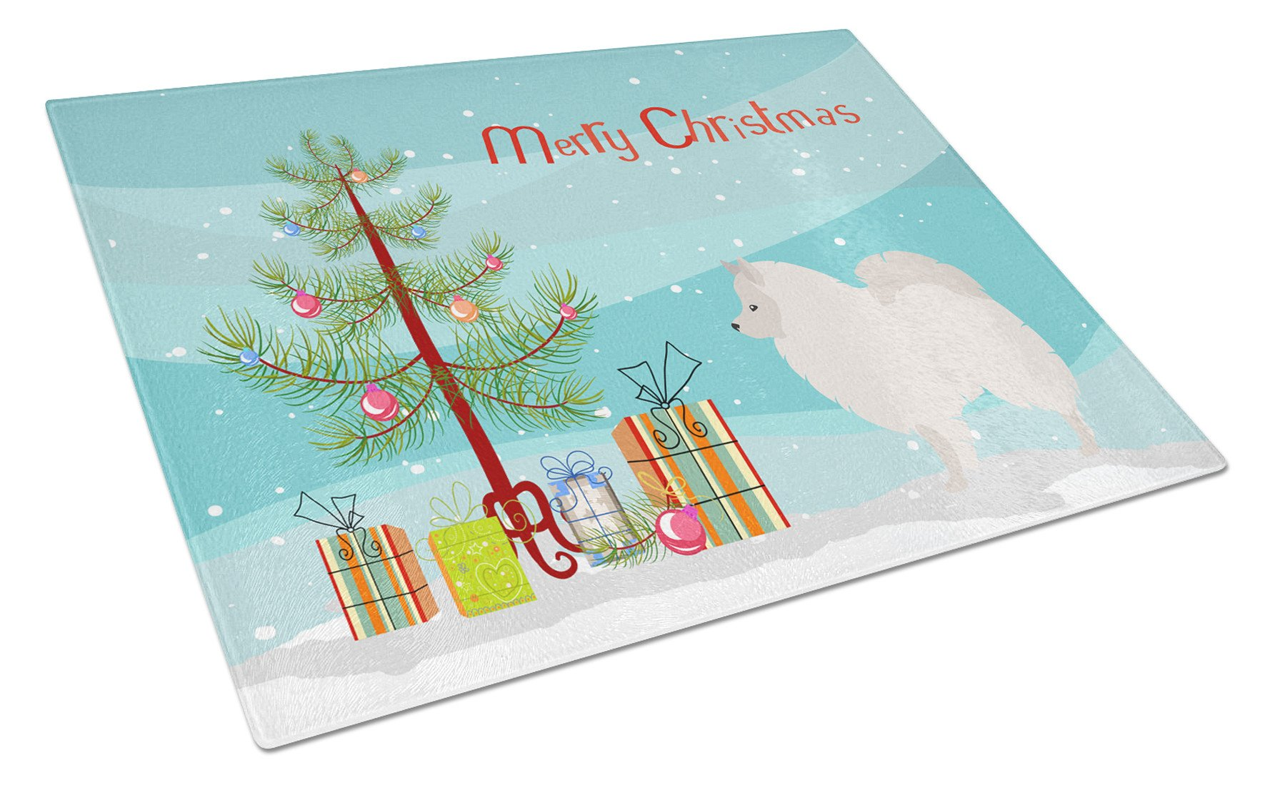 German Spitz Christmas Glass Cutting Board Large BB8479LCB by Caroline's Treasures