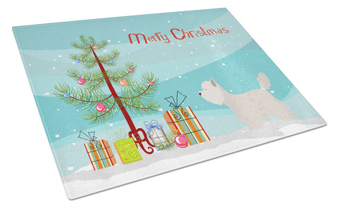 Buy this Westie Christmas Glass Cutting Board Large BB8480LCB