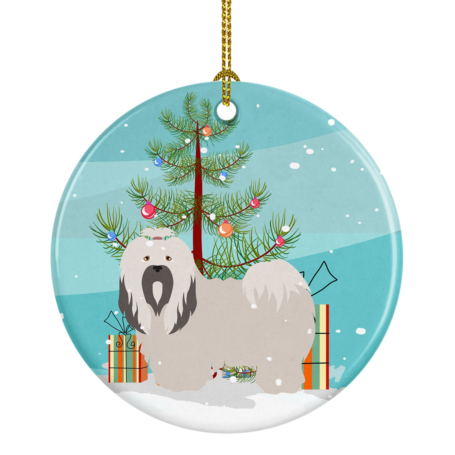 Buy this Lhasa Apso Christmas Ceramic Ornament BB8481CO1