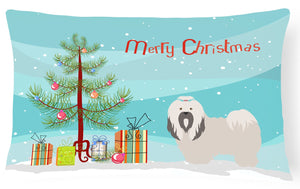 Buy this Lhasa Apso Christmas Canvas Fabric Decorative Pillow BB8481PW1216