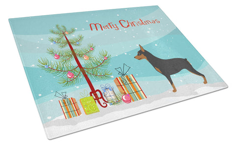 Buy this Miniature Pinscher Christmas Glass Cutting Board Large BB8485LCB