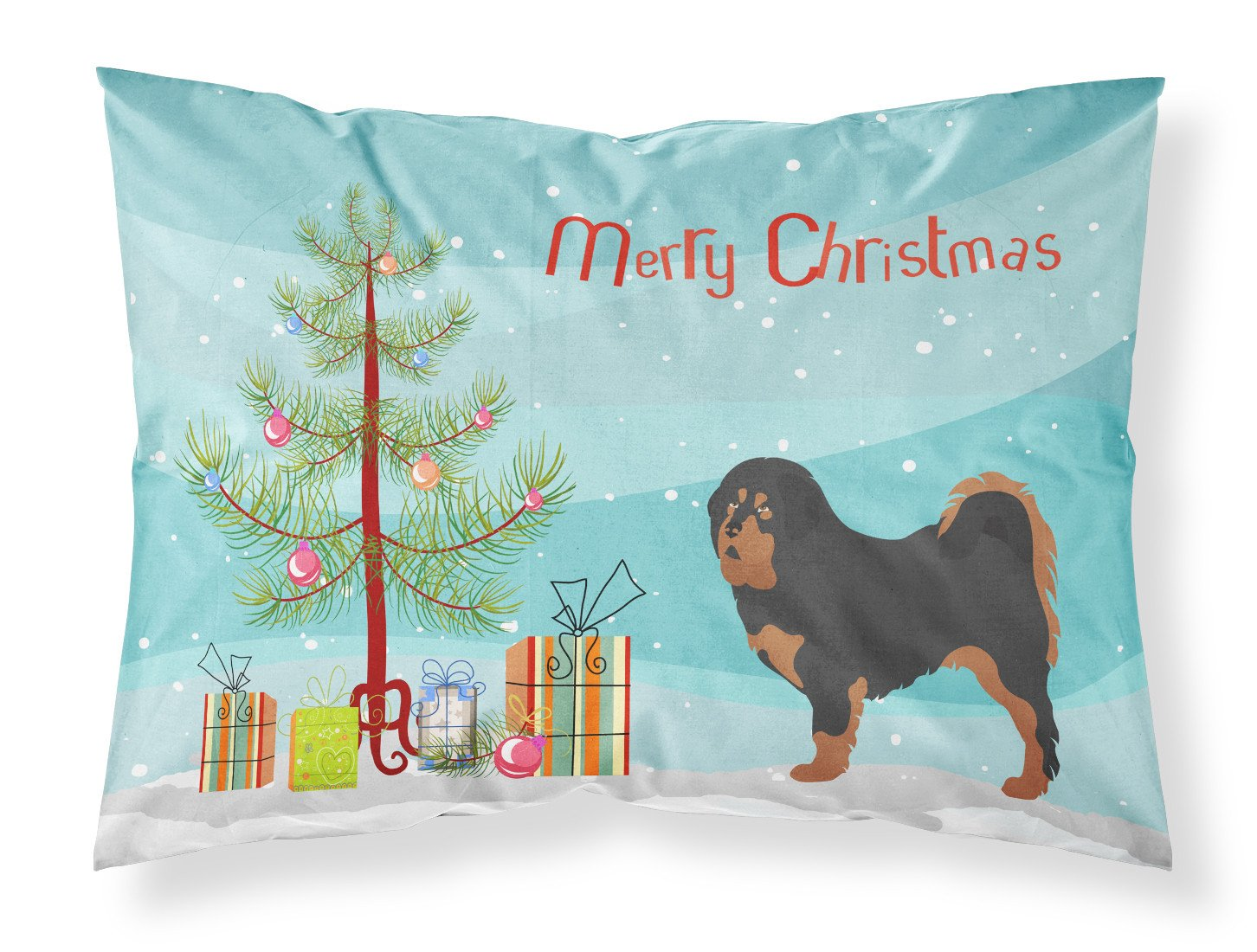 Tibetan Mastiff Christmas Fabric Standard Pillowcase BB8488PILLOWCASE by Caroline's Treasures