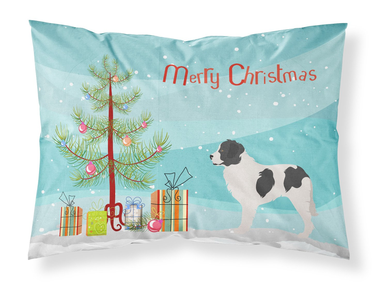 Landseer Christmas Fabric Standard Pillowcase BB8493PILLOWCASE by Caroline's Treasures