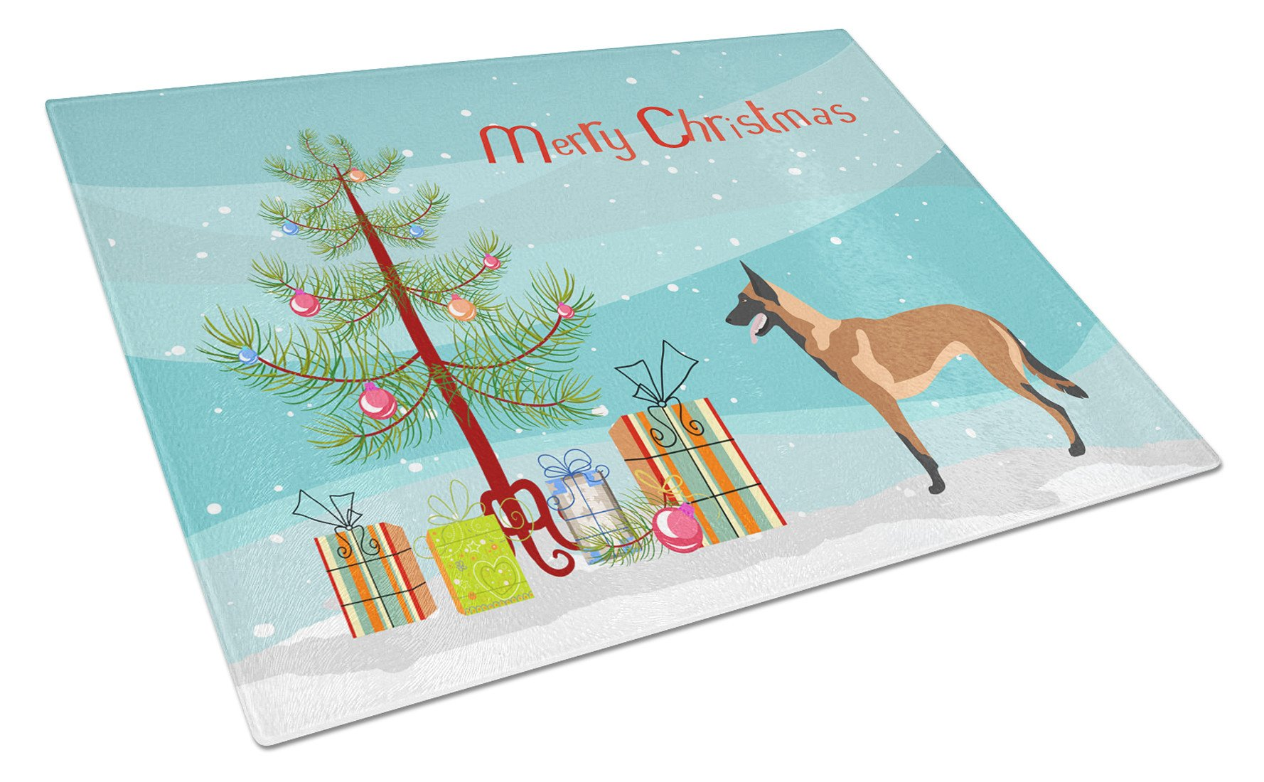 Malinois Belgian Shepherd  Christmas Glass Cutting Board Large BB8494LCB by Caroline's Treasures