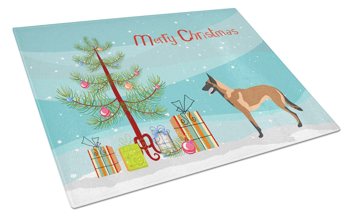 Buy this Malinois Belgian Shepherd  Christmas Glass Cutting Board Large BB8494LCB