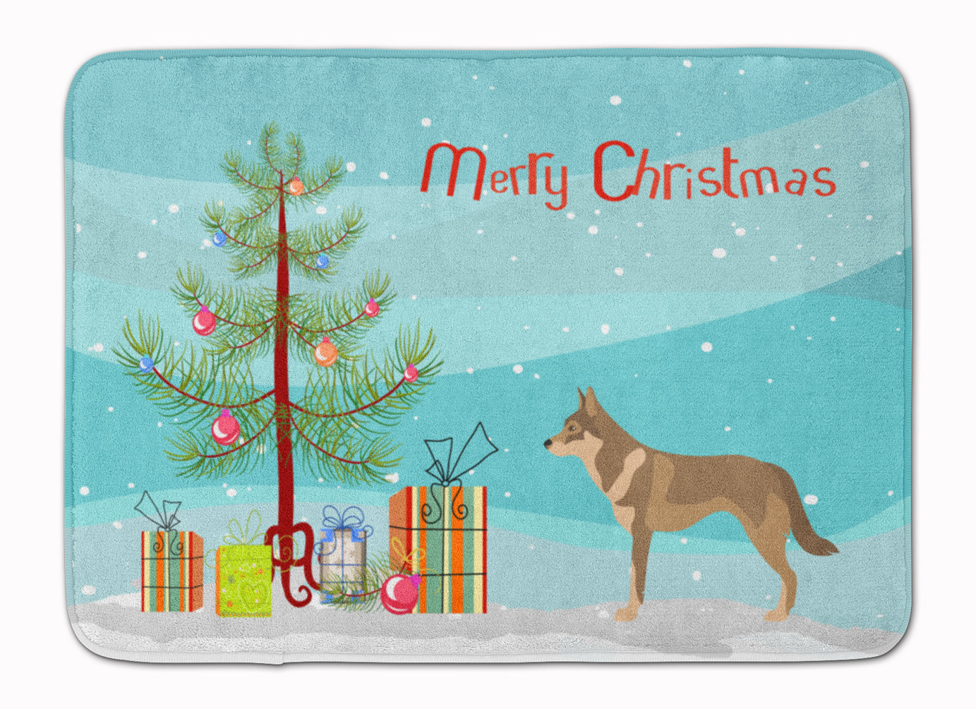 Czechoslovakian Wolfdog Christmas Machine Washable Memory Foam Mat BB8497RUG by Caroline's Treasures