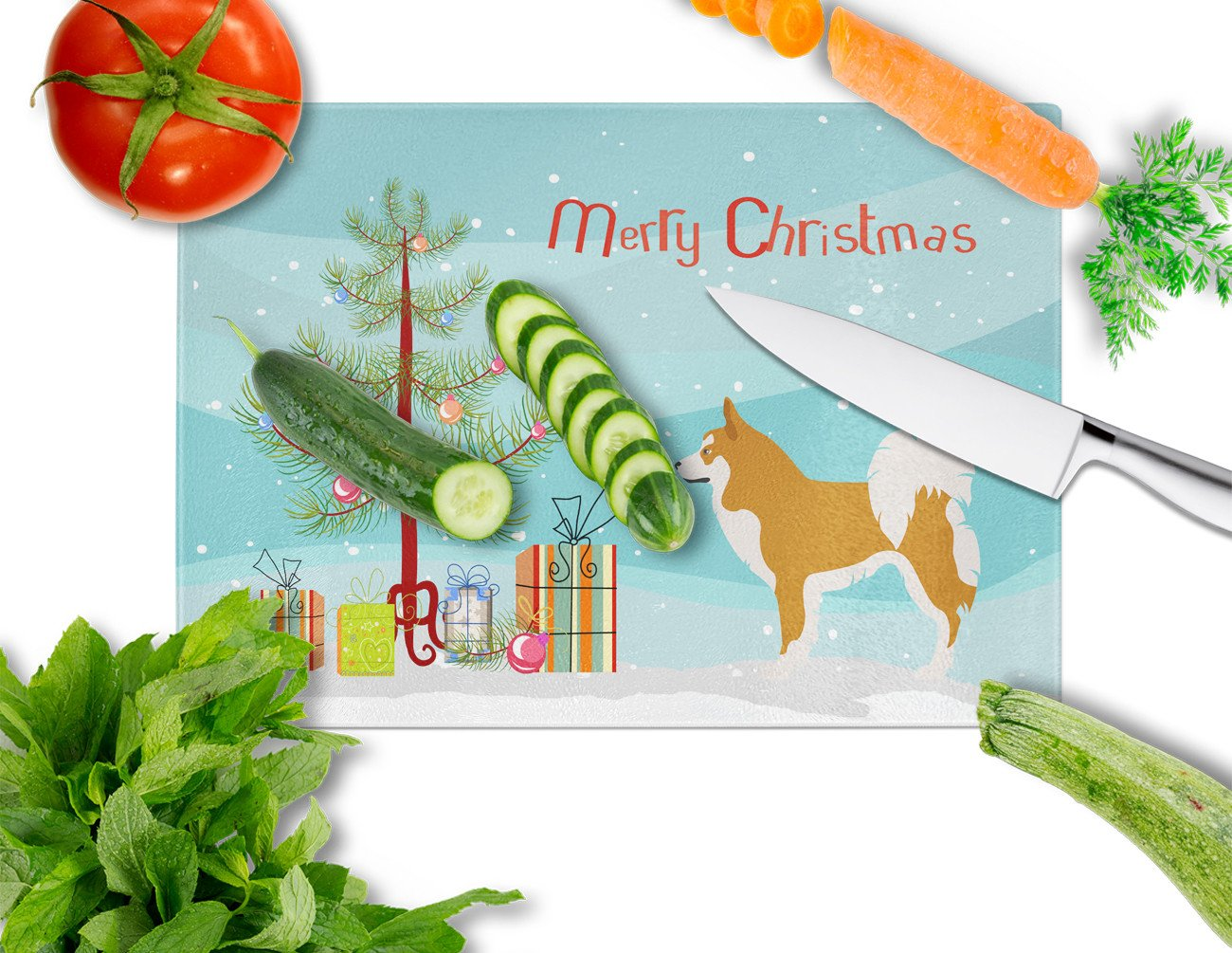 Icelandic Sheepdog Christmas Glass Cutting Board Large BB8502LCB by Caroline's Treasures