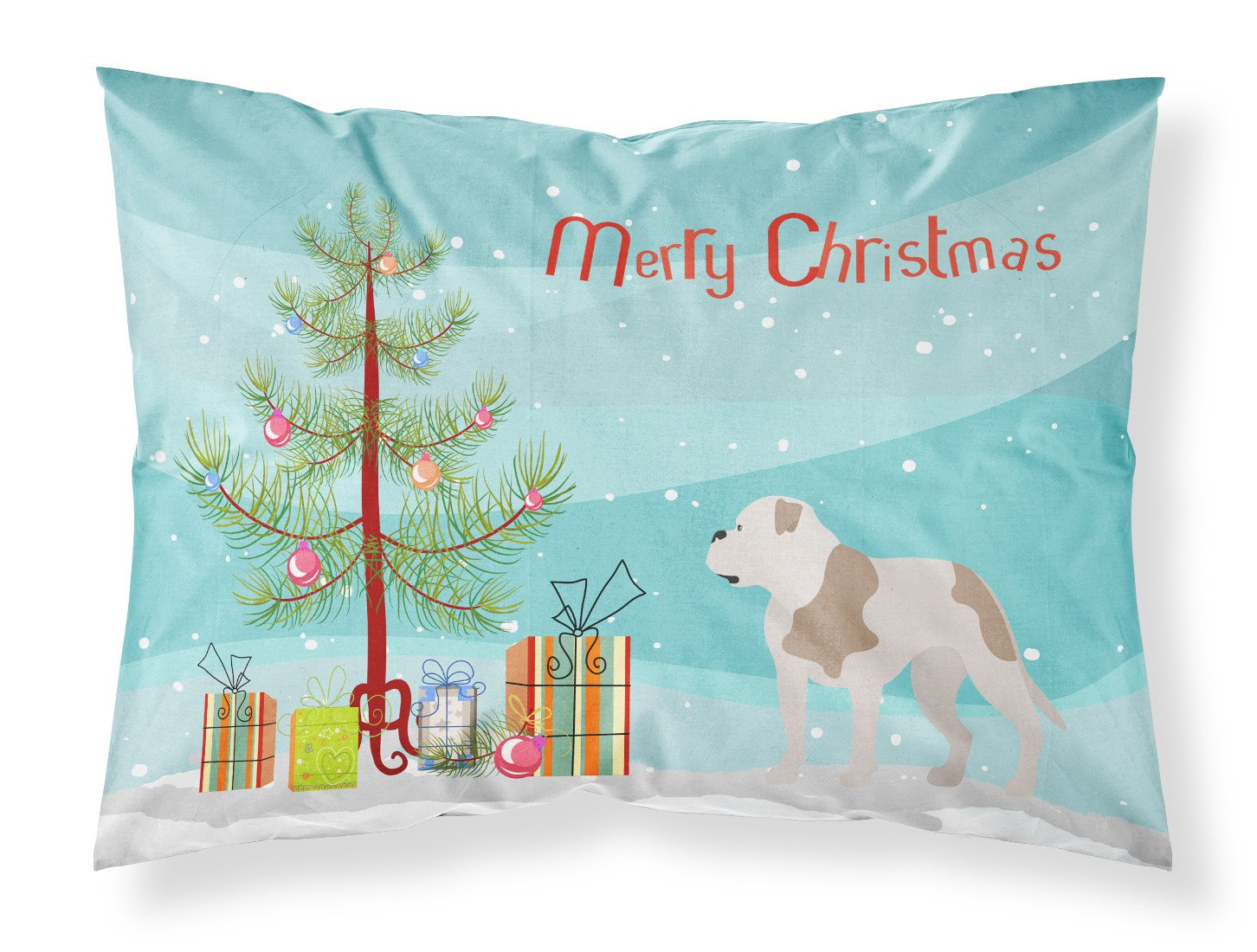 American Bulldog Christmas Fabric Standard Pillowcase BB8510PILLOWCASE by Caroline's Treasures