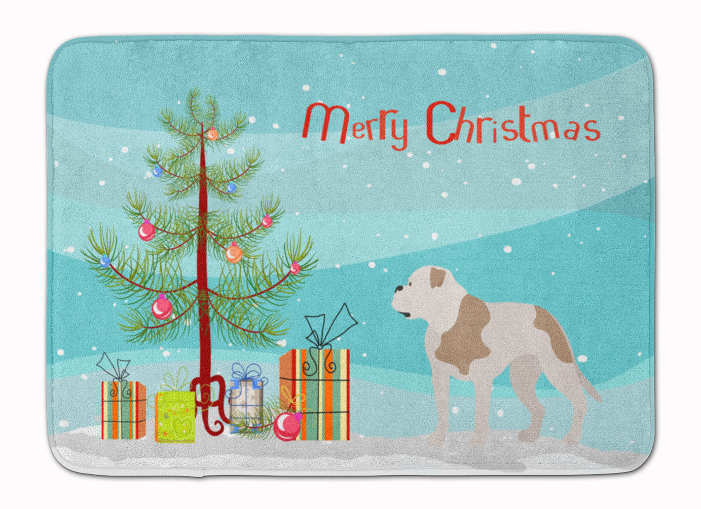 American Bulldog Christmas Machine Washable Memory Foam Mat BB8510RUG by Caroline's Treasures