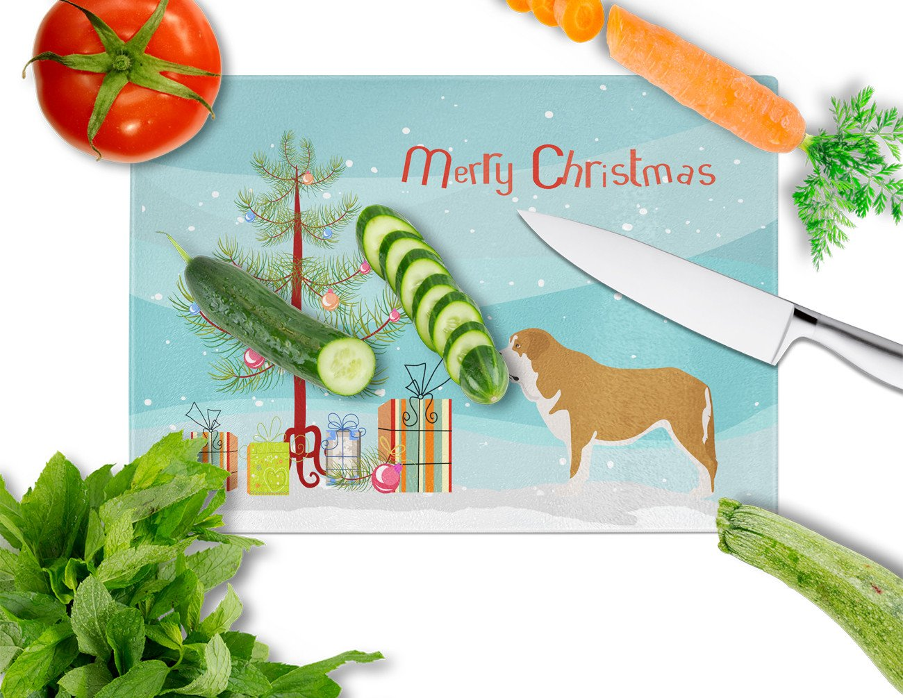 Mastin Epanol Spanish Mastiff Christmas Glass Cutting Board Large BB8511LCB by Caroline's Treasures
