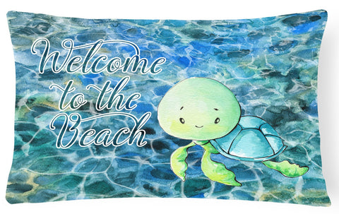 Buy this Sea Turtle Welcome Canvas Fabric Decorative Pillow BB8520PW1216