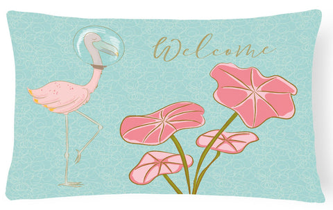 Buy this Flamingo Welcome Canvas Fabric Decorative Pillow BB8532PW1216