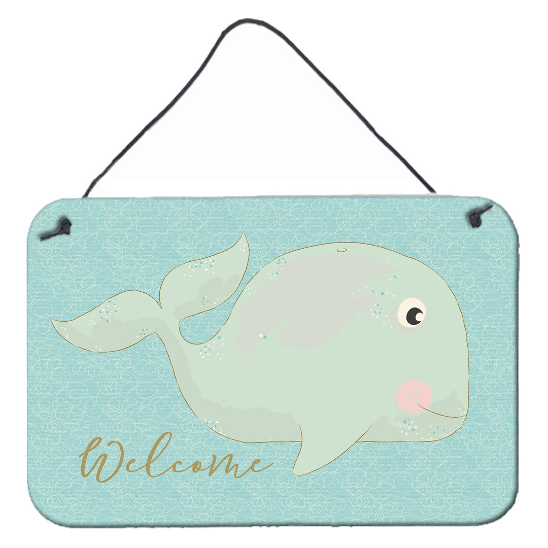 Whale Welcome Wall or Door Hanging Prints BB8533DS812 by Caroline's Treasures
