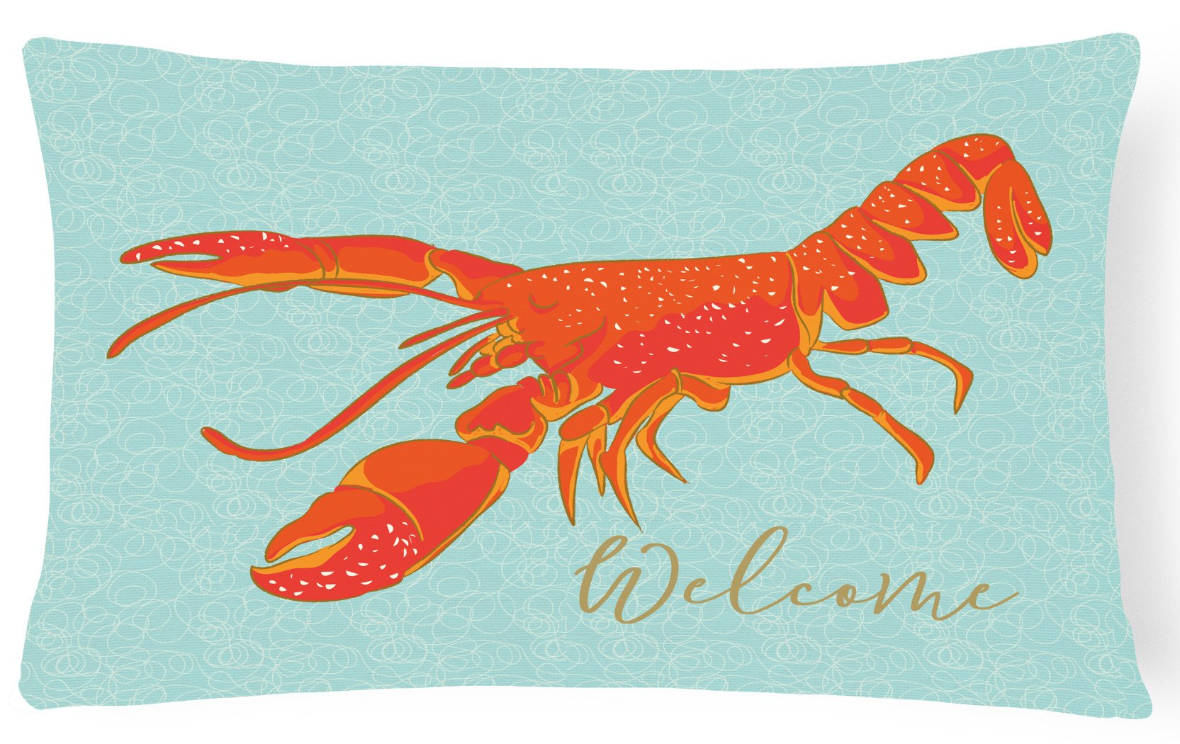 Lobster Welcome Canvas Fabric Decorative Pillow BB8534PW1216 by Caroline's Treasures