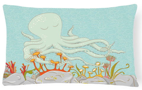 Buy this Octopus Underwater Scene Canvas Fabric Decorative Pillow BB8538PW1216