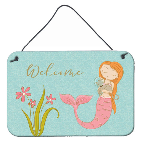 Buy this Mermaid with Cat Welcome Wall or Door Hanging Prints BB8548DS812