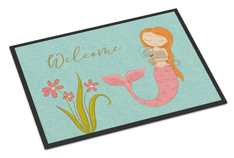 Buy this Mermaid with Cat Welcome Indoor or Outdoor Mat 18x27 BB8548MAT