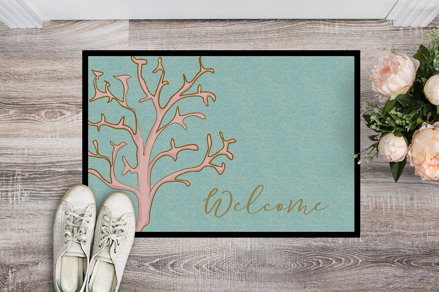 Coral Welcome Indoor or Outdoor Mat 18x27 BB8556MAT by Caroline's Treasures