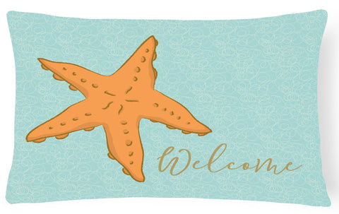 Buy this Starfish Welcome Canvas Fabric Decorative Pillow BB8559PW1216