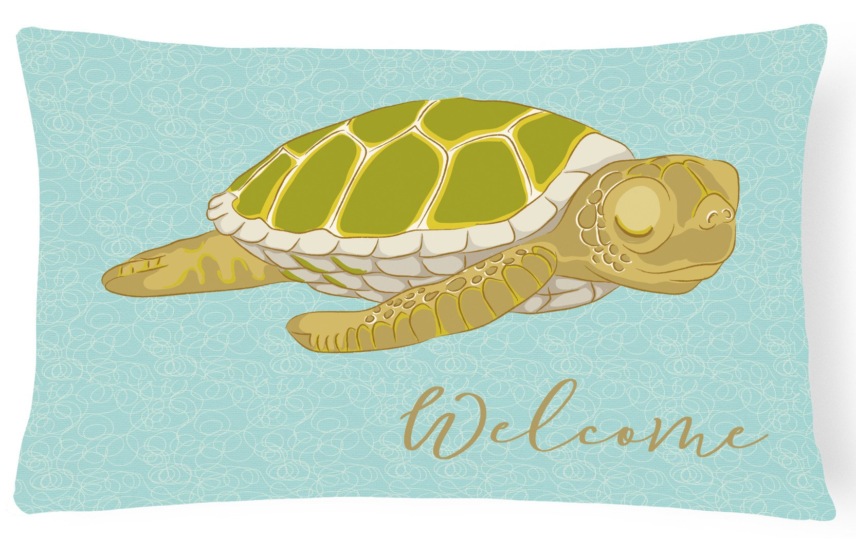 Sea Turtle Welcome Canvas Fabric Decorative Pillow BB8562PW1216 by Caroline's Treasures