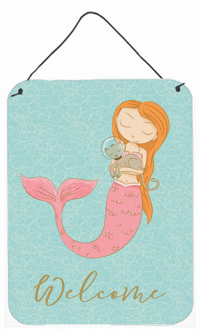 Buy this Mermaid with Cat Welcome Wall or Door Hanging Prints BB8577DS1216