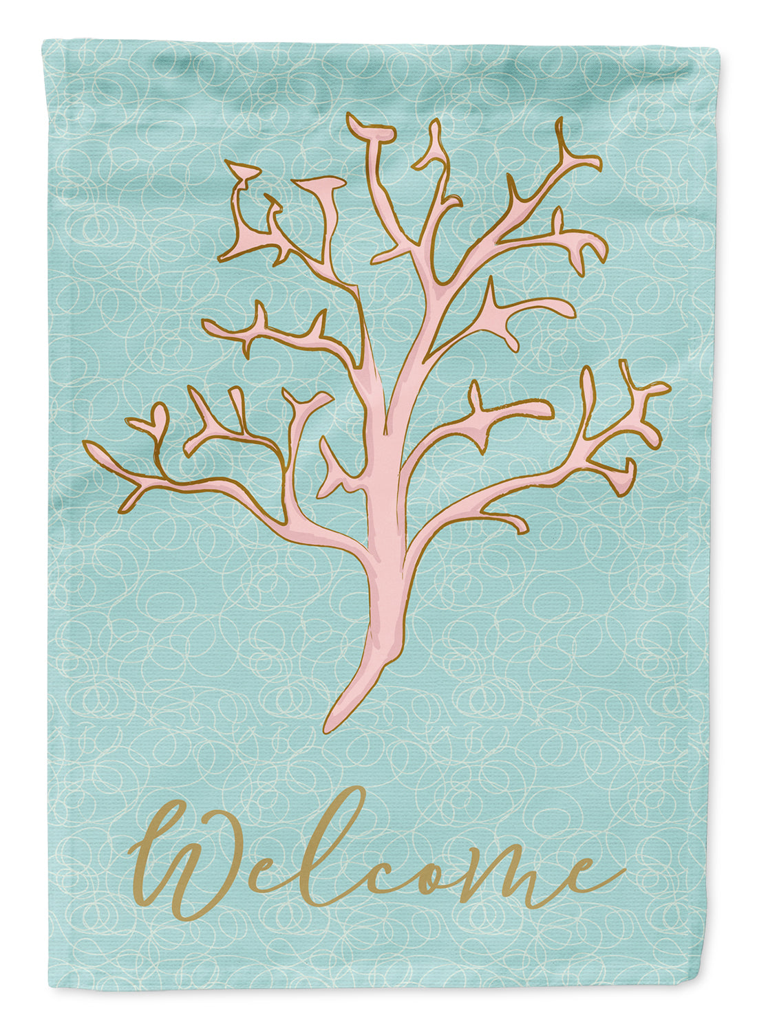 Coral Welcome Flag Canvas House Size BB8583CHF by Caroline's Treasures