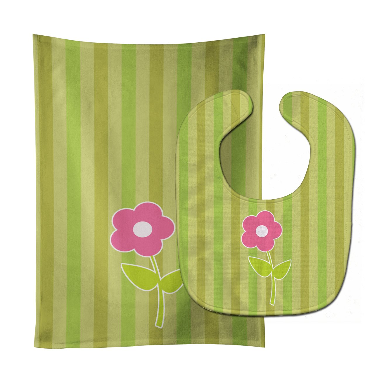 Flower on Stripes Baby Bib & Burp Cloth BB8594STBU by Caroline's Treasures