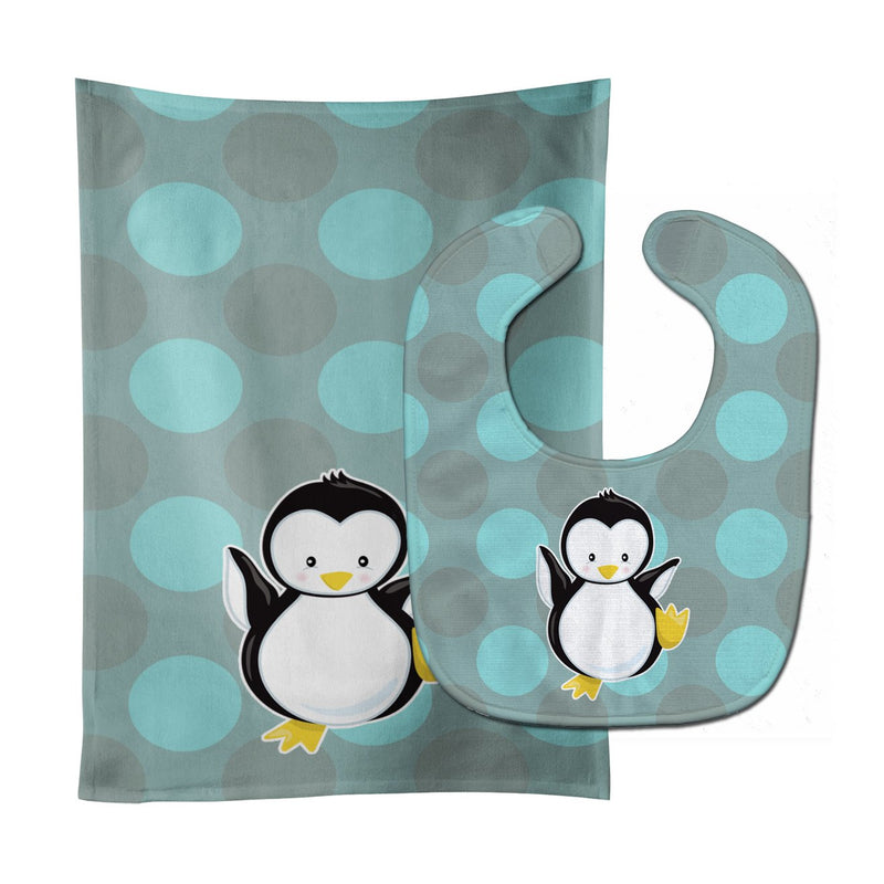 Buy this Penguin on Polkadot Baby Bib & Burp Cloth BB8605STBU