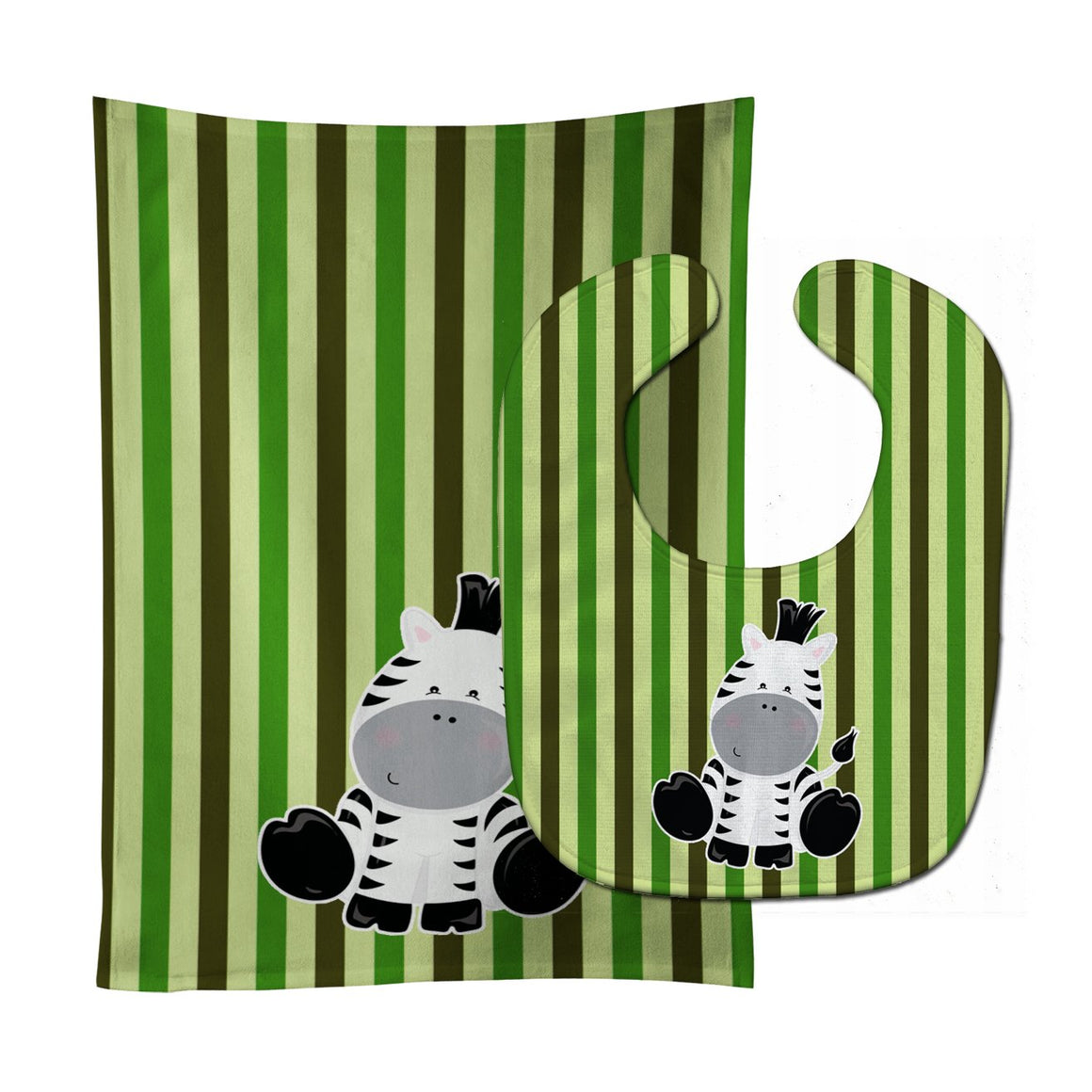 Buy this Zebra on Stripes Baby Bib & Burp Cloth BB8607STBU