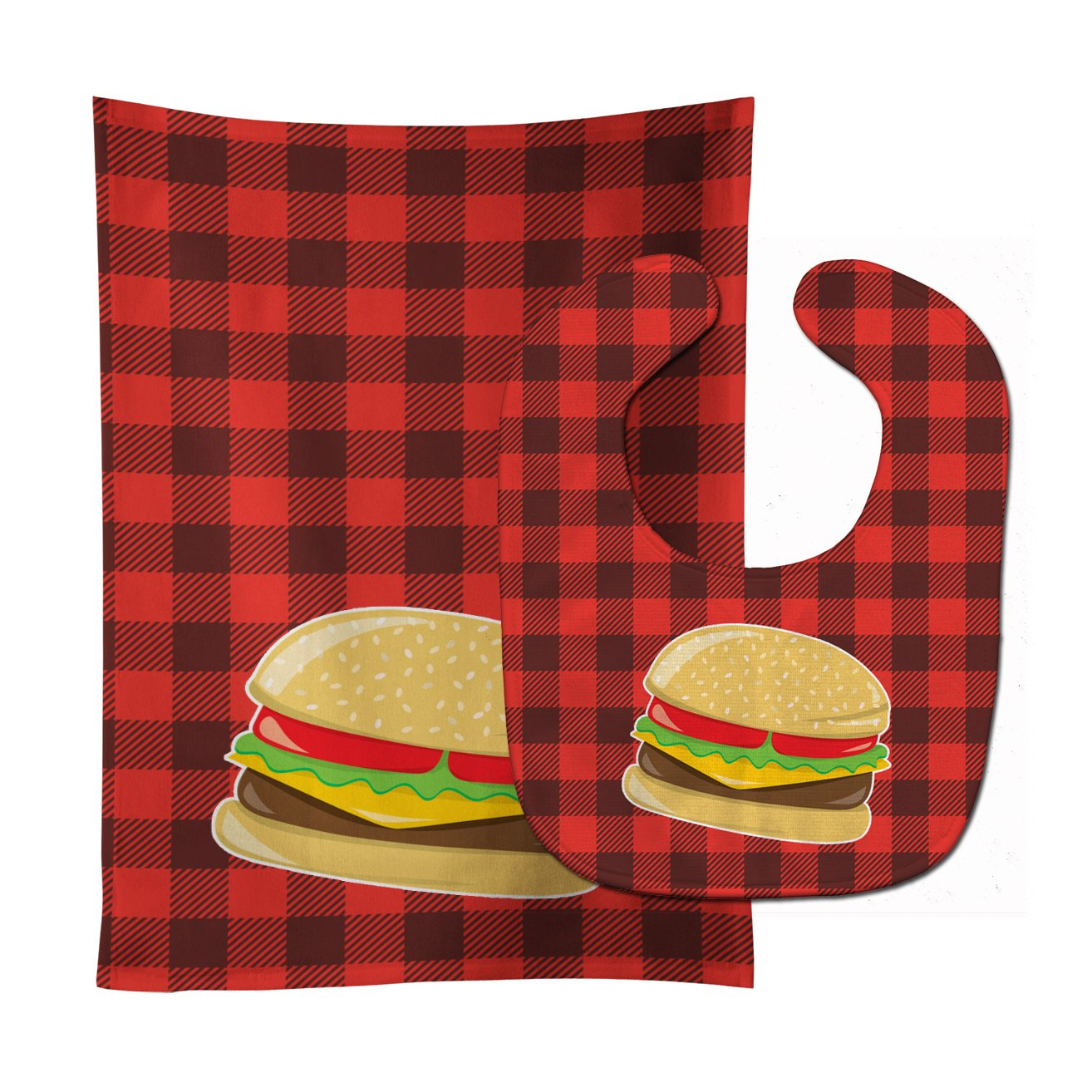 Backyard BBQ Hamburger Baby Bib & Burp Cloth BB8629STBU by Caroline's Treasures