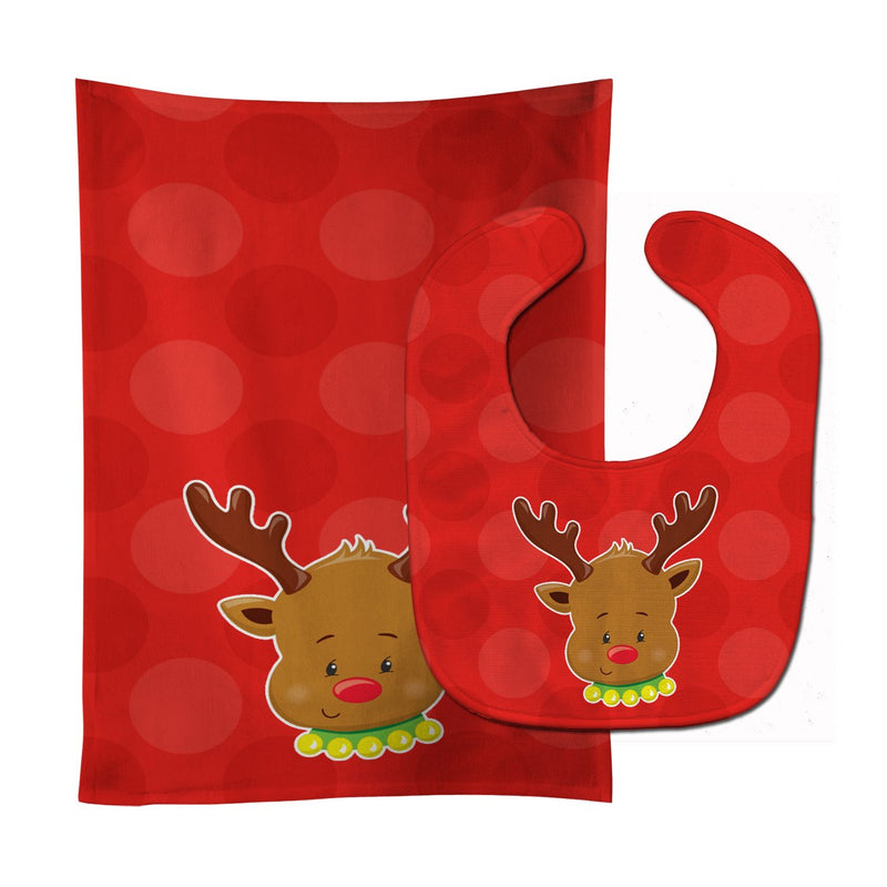 Buy this Christmas Reindeer #1 Baby Bib & Burp Cloth BB8665STBU