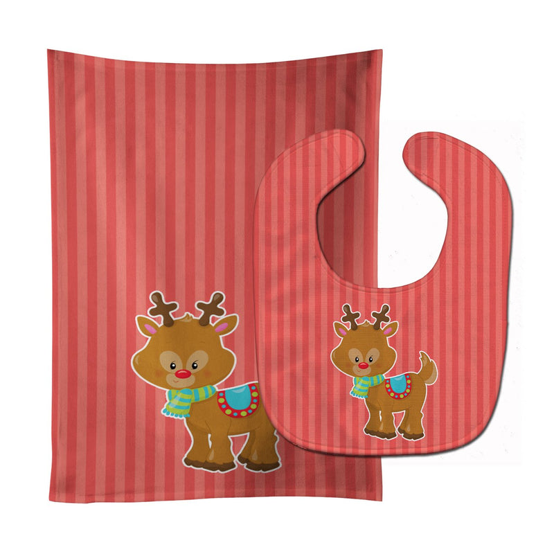 Buy this Christmas Reindeer and Stripes Baby Bib & Burp Cloth BB8683STBU