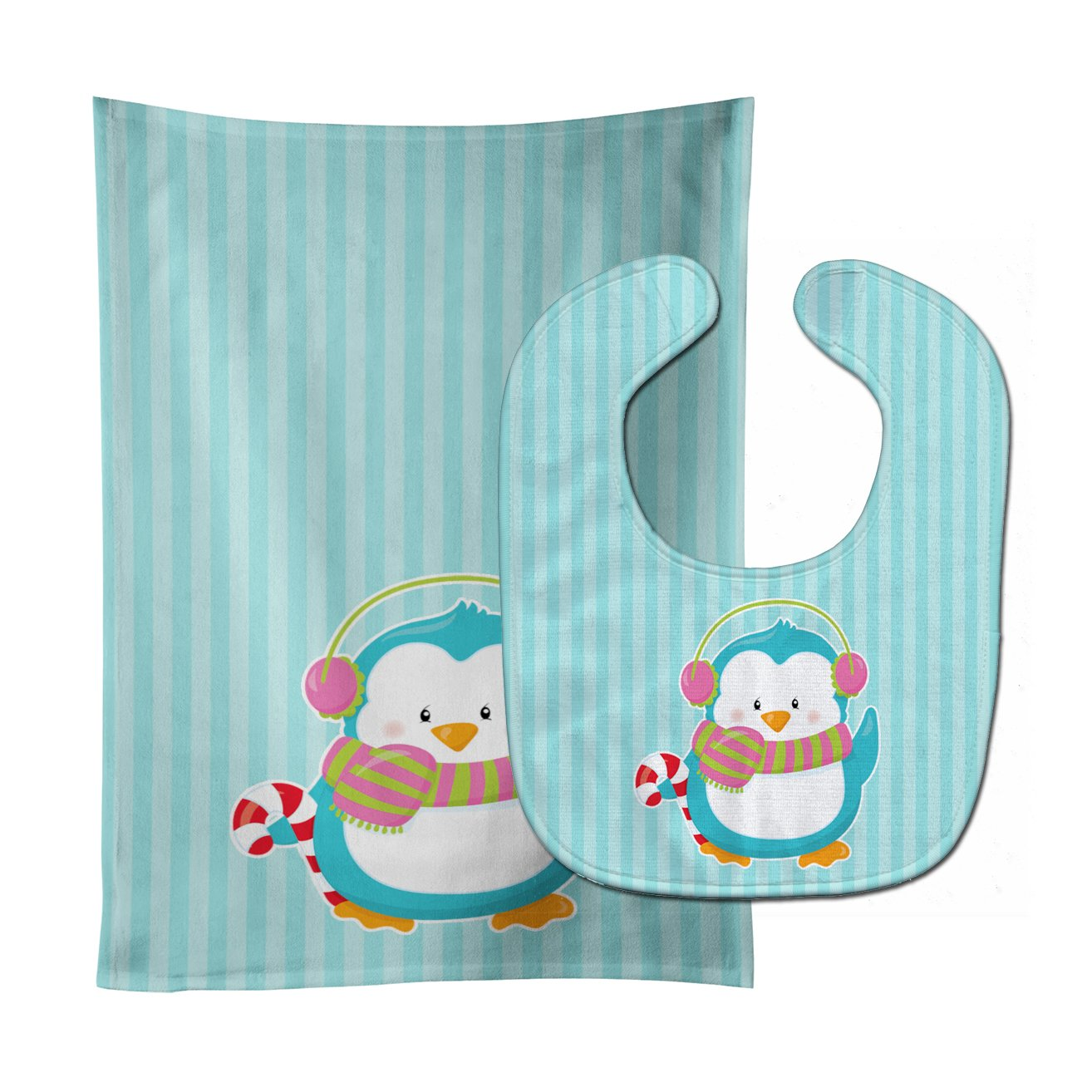 Buy this Christmas Penguin and Stripes Baby Bib & Burp Cloth BB8684STBU
