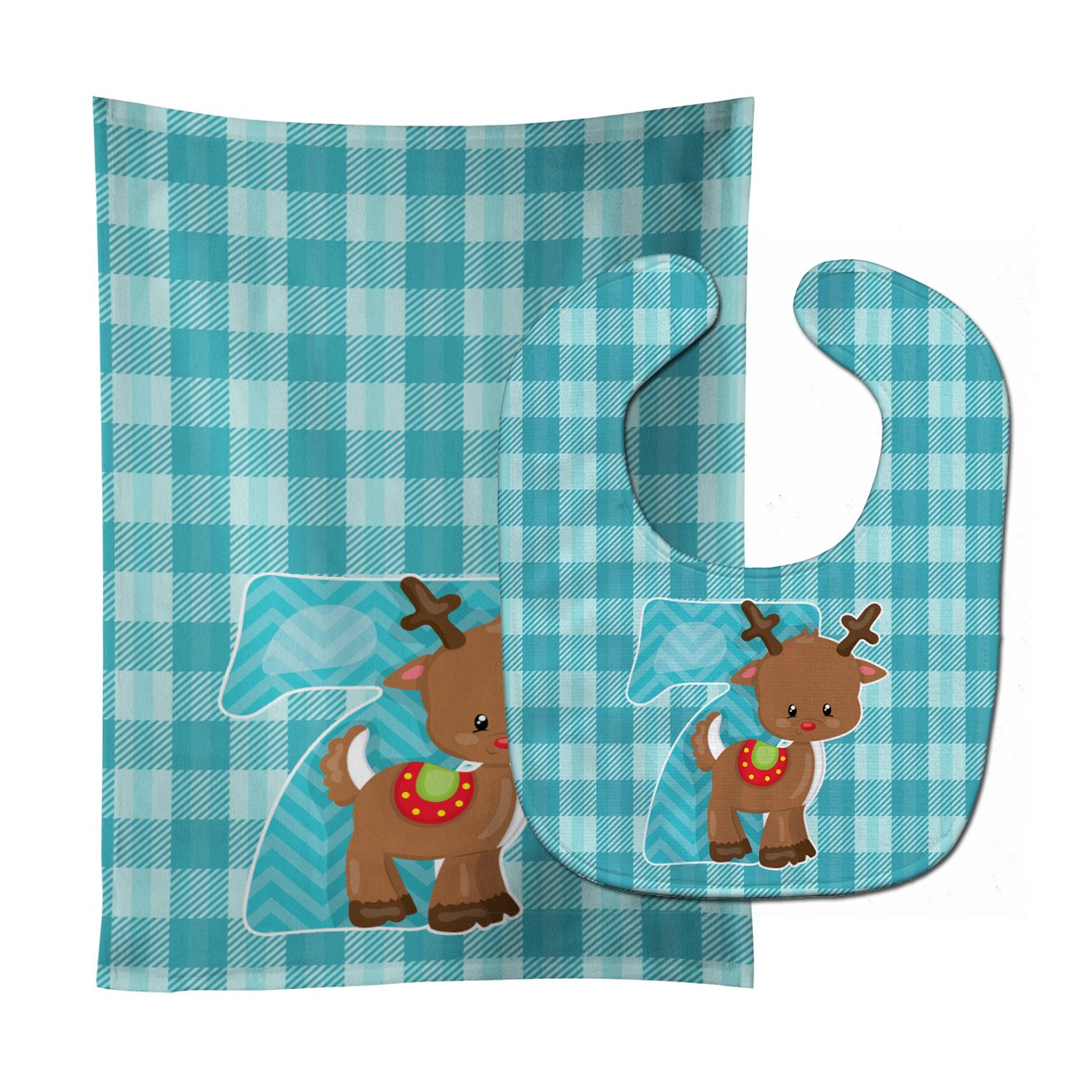 Buy this Christmas Month 7 Reindeer Baby Bib & Burp Cloth BB8693STBU