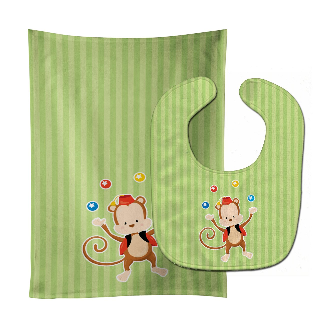 Monkey Juggler Baby Bib & Burp Cloth BB8696STBU by Caroline's Treasures
